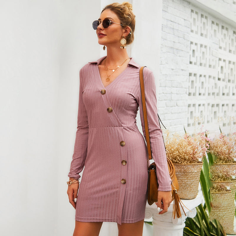 Women Lapel Button Hip-Wrap Above-Knee Dress Summer Long Sleeve Sexy Solid Color