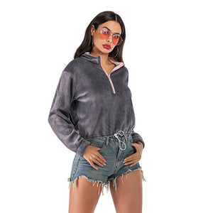 Women's Casual Loose Zipper Long Sleeve Tops Pullover Sweatshirt Drawstring