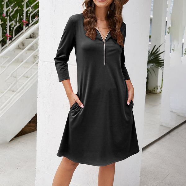 Women's Casual Zipper V-Neck Mini Dress Slim 3/4 Sleeve A-Line Solid Color - PRESALE