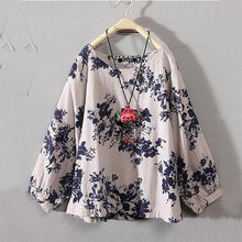 Load image into Gallery viewer, Women Summer Retro Boho Floral Long Sleeve Round Neck Casual Loose Tops Shirts