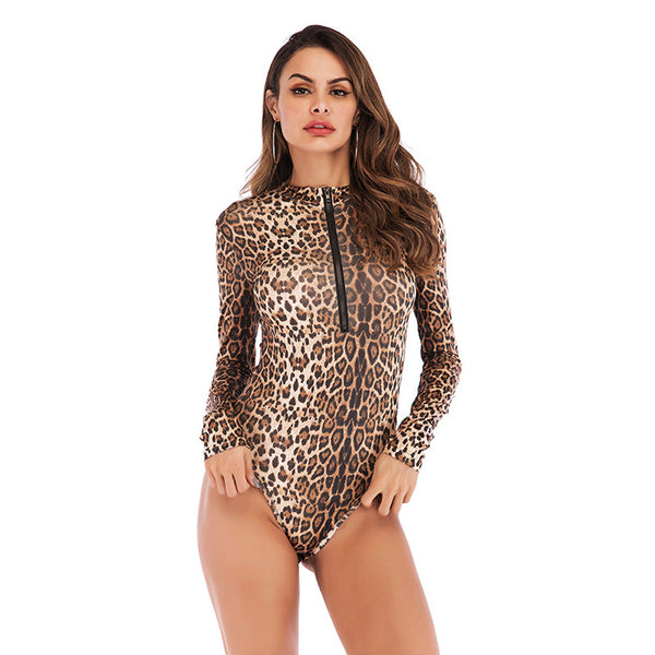 Women's Sexy Slim Leopard Print Zipper Bodysuit Round Neck Long Sleeve Playsuit