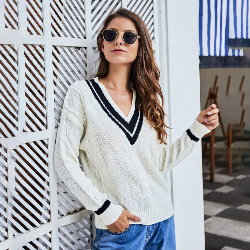 Women's Fashion V-neck Knitting Loose Long-sleeved Sweater Casual Tops