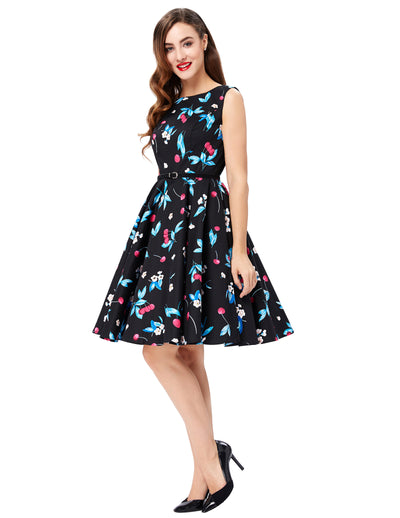 Grace Karin A Line Boatneck Floral Print Sleeveless Swing Vintage Dress With Belt_Cherry