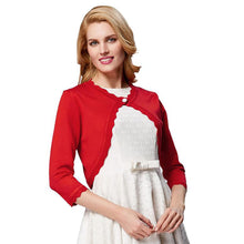 Load image into Gallery viewer, Women's Red and Black 3/4 Sleeve One Button Knitting Bolero Shrug