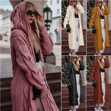 Load image into Gallery viewer, 2020 Fall/Winter Solid Color Hooded Long Cardigan Sweater Knit
