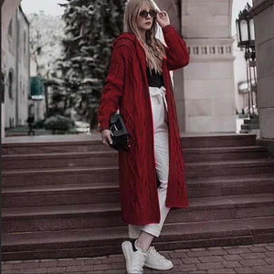 2020 Fall/Winter Solid Color Hooded Long Cardigan Sweater Knit