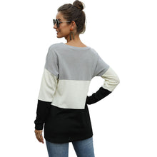 Load image into Gallery viewer, Women's Casual Color Matching Round Neck Knot T-shirt Long Sleeve Pullover Tops