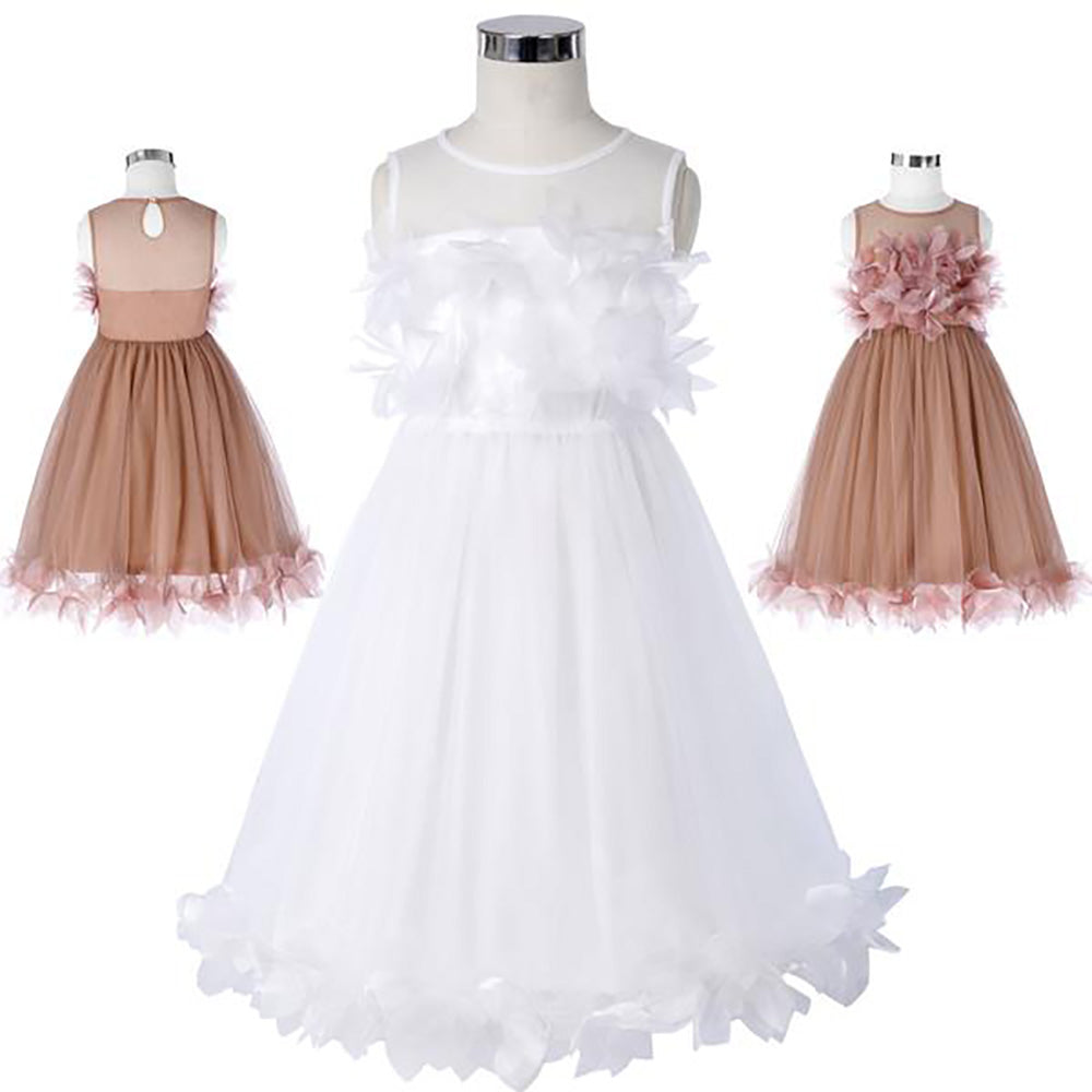 Flower Decorated Sleeveless Crew Neck Flower Girl Princess Bridesmaid Wedding Party Dress
