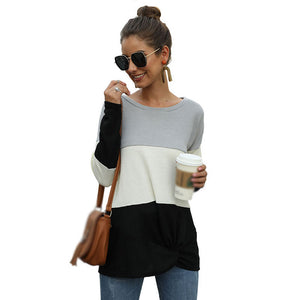 Women's Casual Color Matching Round Neck Knot T-shirt Long Sleeve Pullover Tops