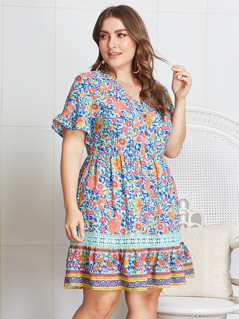 Frauen Sommer Blumenspitze Hohl Splice Plus Size Fashion New Mini Dress