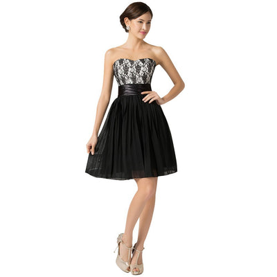 Grace Karin Black Lace Free Patterns Sleeveless Sweetheart Knee Length Pleated A-line Bridesmaid Cocktail Party Evening Prom Dress