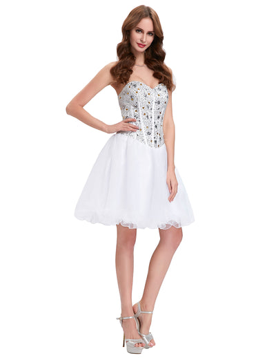 Grace Karin Women's Strapless Beaded Sequin Corset style Bridesmaid Organza Homecoming Cocktail Dress _White