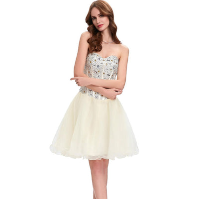 Grace Karin Women's Strapless Beaded Sequin Corset style Bridesmaid Organza Homecoming Cocktail Dress _Beige