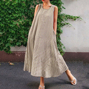 Women's Sleeveless Casual Loose Round Neck Striped Plus Size Maternity Dress