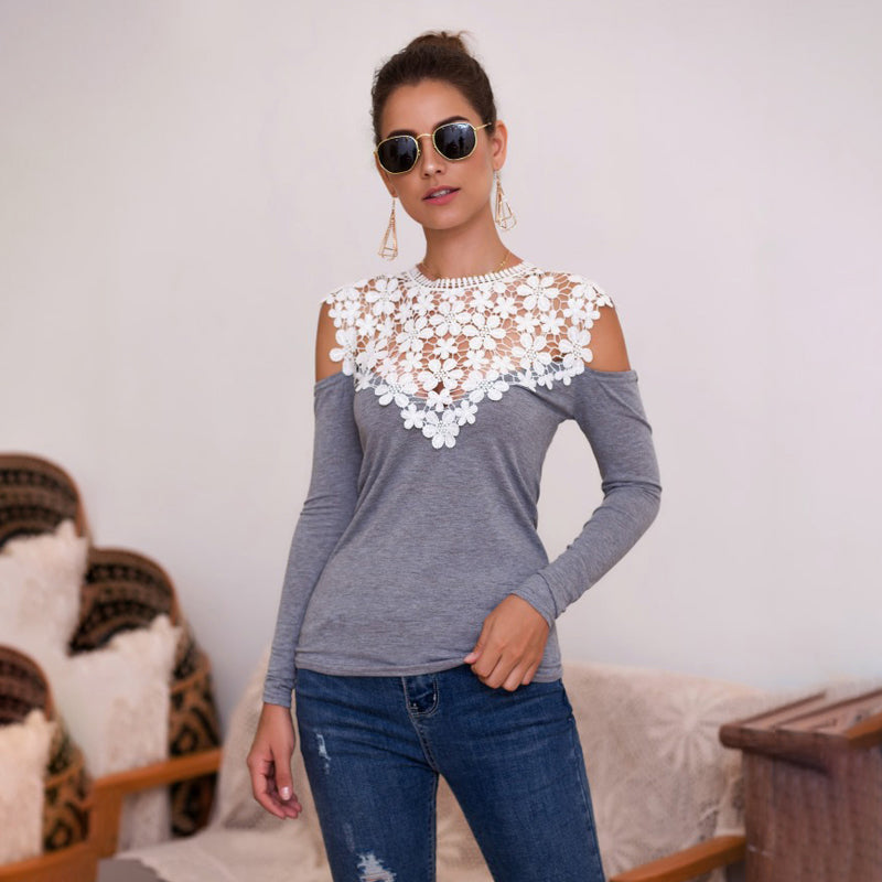 Women Tops Long Sleeve Lace Splice Off Shoulder Sexy Slim Fit Fashion
