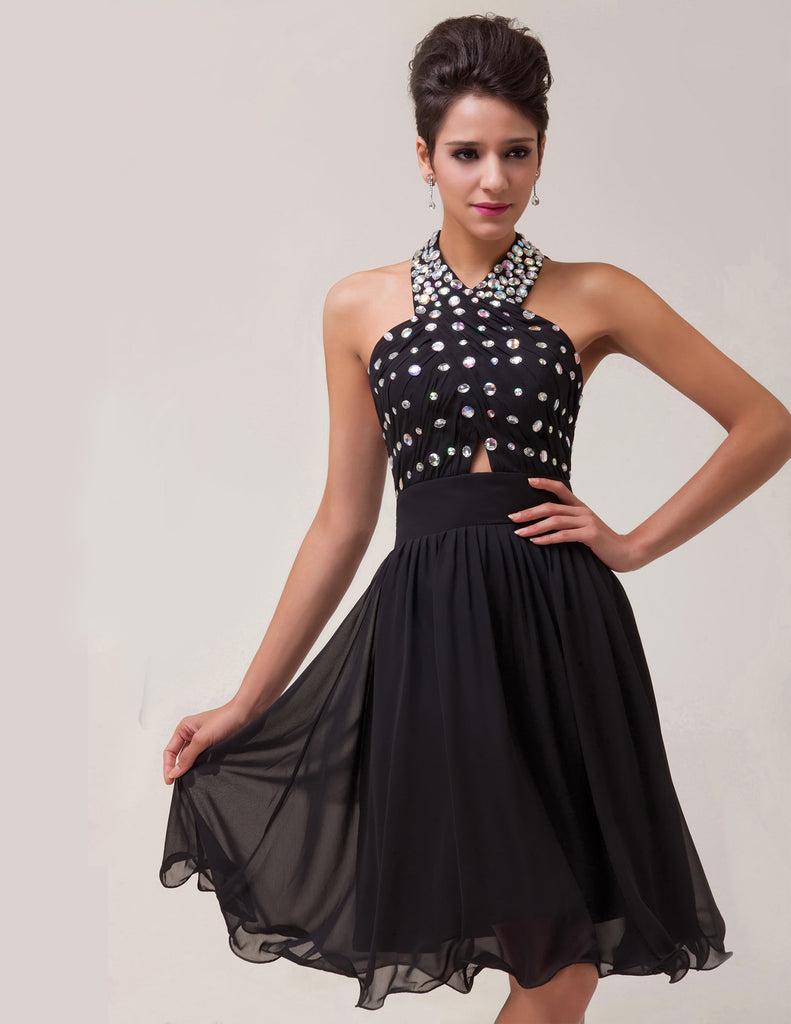 Black Ball Cocktail Evening Party Dress - Stock Halter Chiffon