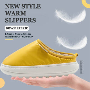 New Style Down Fabric Thick-Soled Warm Slippers