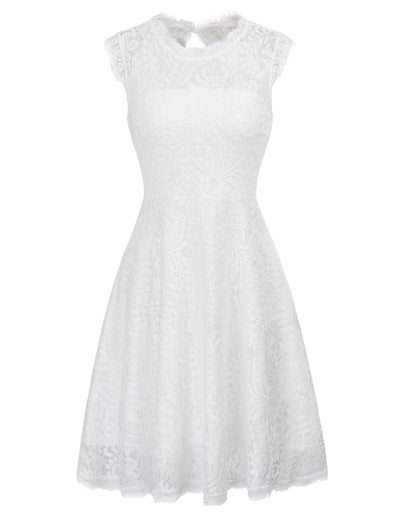 GRACE KARIN Women's Ivory Hollowed Back Sleeveless  Crew Neck Pleated A-Line Exquisite Flora Lace Cocktail Party Dress