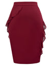 GRACE KARIN Women's Chiffon Ruffles Decorated Hips-Wrapped Body-con Pencil Skirt_Wine Red