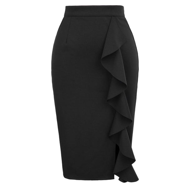 GK Sexy Women's Big Ruffle Decorated Split Front Hips-Wrapped Pencil Skirt