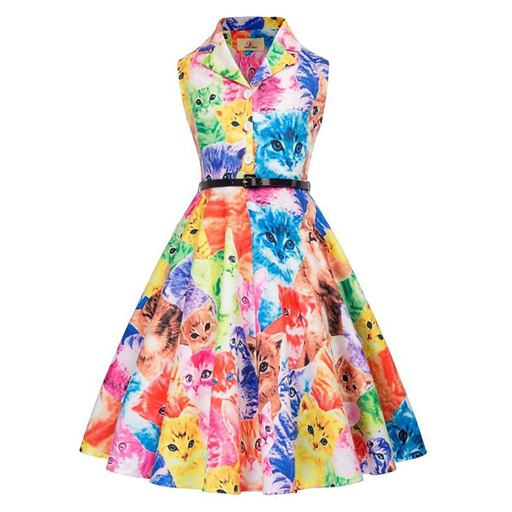 Colorful Cats Pattern Sleeveless Flared A-Line Girl's Dress with Belt - PRESALE
