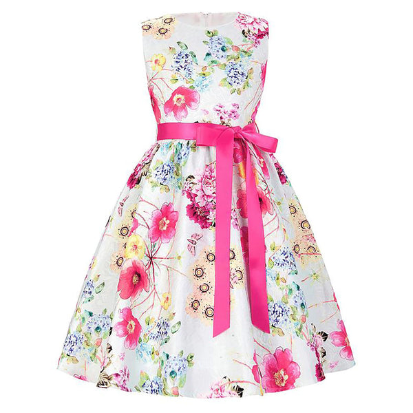 Sleeveless Knee-Length Flower Girl Dress With Vibrant Flower Pattern - PRESALE