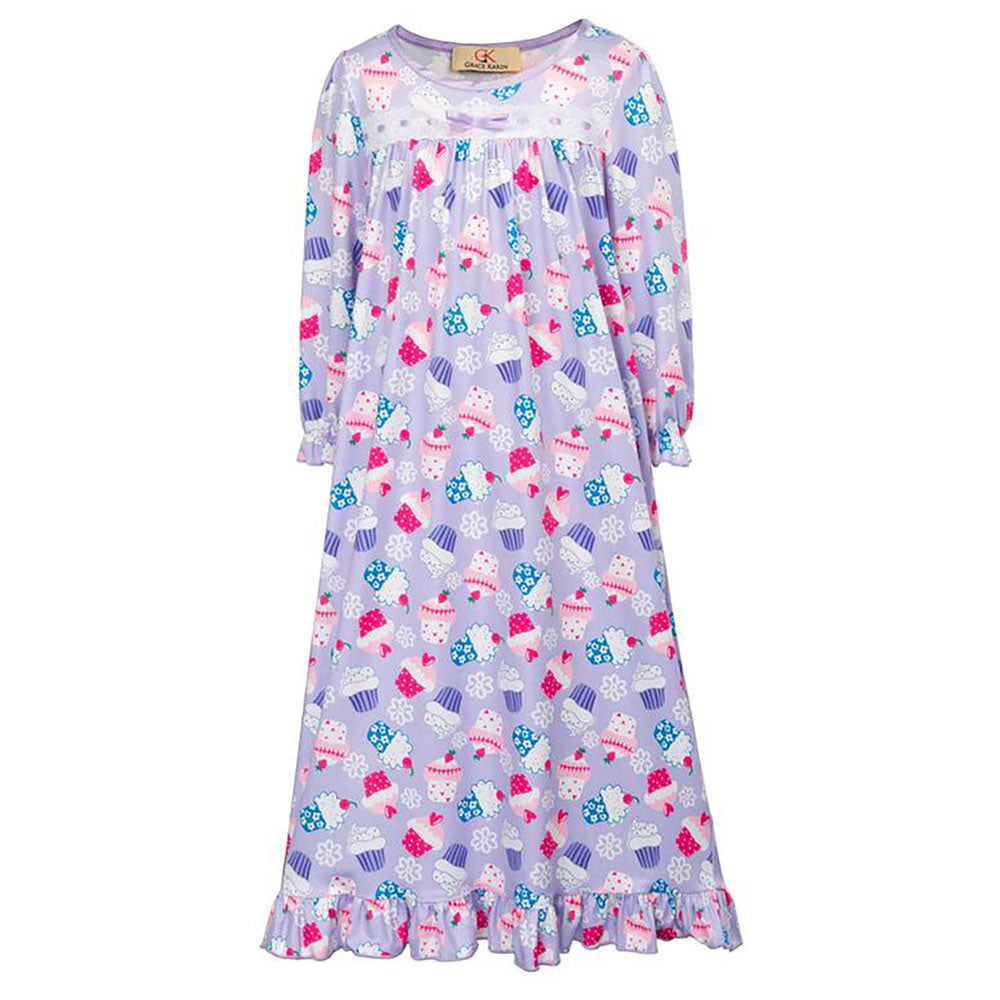 Cute Kids Girls Vibrant Pattern Long Sleeve Ruffled Comfy Nightgown