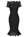 GRACE KARIN Sexy Women's Short Sleeve Off the Shoulder Hips-Wrapped Body-con Pencil Mermaid Exquisite Floral Lace Dress_Black