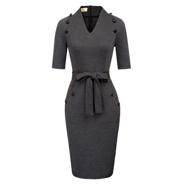 Women 1/2 Sleeve Pencil Dress With Belt
