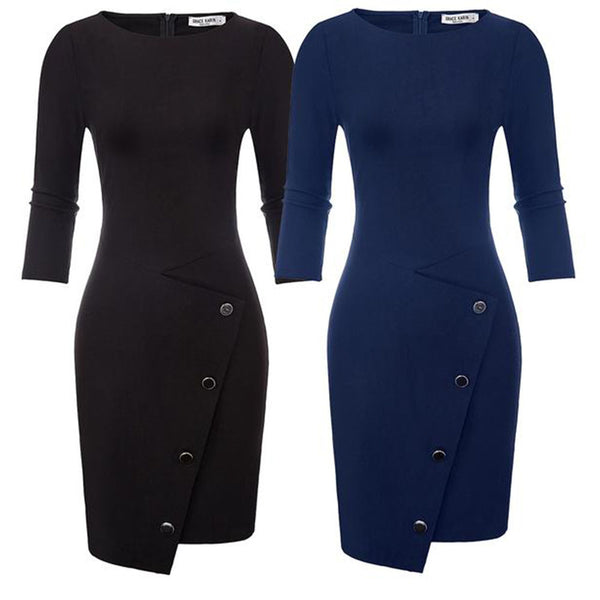 GK Retro Vintage 3/4 Sleeve Scoop Neck Hips-Wrapped Bodycon Pencil Dress