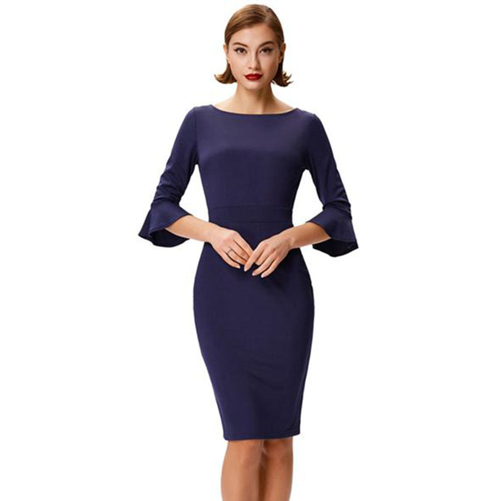 3/4 Flared Cuffed Sleeve Crew Neck V-Back Bodycon Pencil Dress