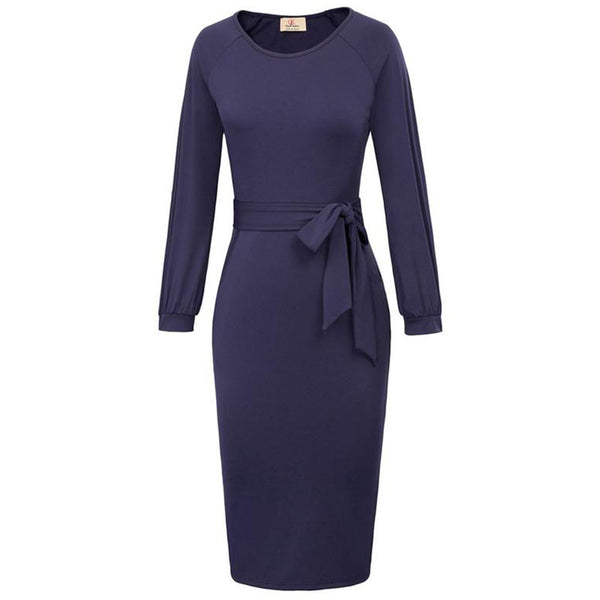 Grace Karin 3/4 Raglan Sleeve Back Split Bodycon Pencil Dress with Pockets