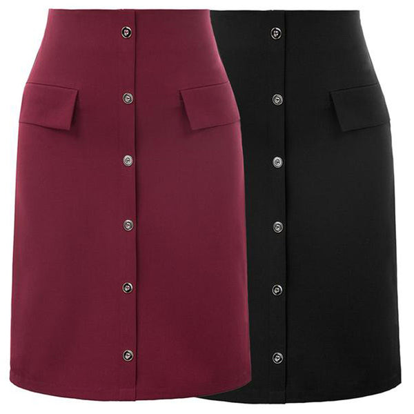 GK Women's OL High Waist Faux Pockets & Buttons Decorated A-Line Skirt