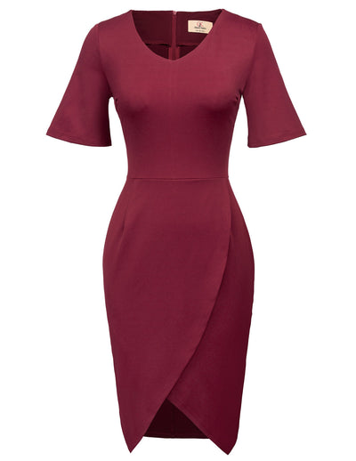 GRACE KARIN Women's Wine Red Short Flared Cuffed Sleeve V-Neck Irregular Hem High Stretchy Hips-Wrapped Body-con Pencil Dress
