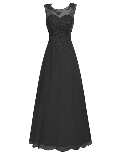 Grace Karin Women's Sleeveless Crew Neck V-Back Floor-Length Chiffon Ball Gown Evening Prom Party Dress with beading and appliques embellished_Black
