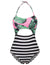 Women's Floral Pattern Hollowed Front Halter Strapless One-piece Swimsuit
