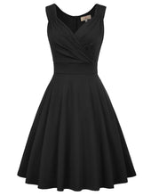 Load image into Gallery viewer, GRACE KARIN Women's Solid Black Color Sleeveless V-Neck Flared A-Line Party Dress with concealed zipper in the back