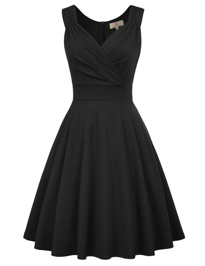 GRACE KARIN Women's Solid Black Color Sleeveless V-Neck Flared A-Line Party Dress with concealed zipper in the back