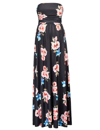 GRACE KARIN Black Maternity Women's Floral Pattern Strapless Straight Neck High Stretchy Dress With Pockets