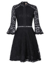 GRACE KARIN Sexy Women's Black 3/4 Bell Sleeve Half High-Neck A-Line Lace Party Dress