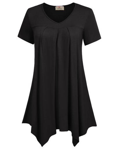 Grace Karin Women's Black Loose Fit Short Sleeve V-Neck Irregular Hem High Stretchy Modal T-Shirt Tops