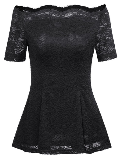 GRACE KARIN Sexy Women's Black Short Sleeve Off the Shoulder High Stretchy A-Line Floral Lace Tops