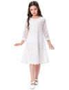3/4 Sleeve Mid-Calf Two Layers Lace Flower Girl's Dress