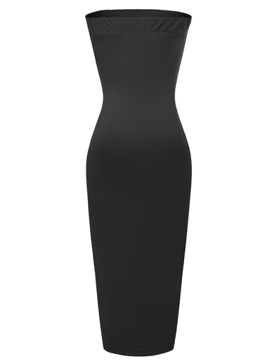 Solid Color Strapless High Stretchy Hips-wrapped Bodycon Pencil Dress