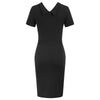 Women Short Sleeve Lapel Collar V-Neck Hips-Wrapped Bodycon Pencil Dress