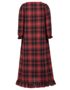 Comfortable Cotton Kids Girls Long Sleeve Ruffled Plaid Pattern Nightgown