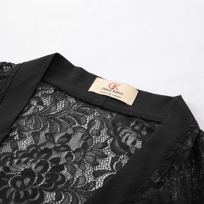 GRACE KARIN Women's Black Casual 3/4 Sleeve Open Front See-through Lace Cover-up Coat