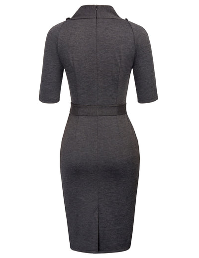 GRACE KARIN Women's Dark Grey 1/2 Sleeve V-Neck Body-con Pencil Dress with 12pcs buttons decorated