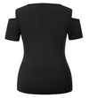 GK Women's Plus Size Short Sleeve Crew Neck Cut-out Shoulders Keyhole T-Shirt Tops