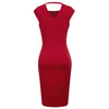 GRACE KARIN Women's Red Cap Sleeve Crew Neck Hollowed Back Ruffle Decorated High Stretchy Body-con Pencil Dress